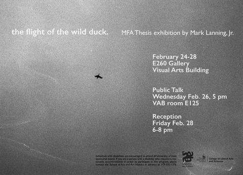 the flight of the wild duck, Mark Lanning Jr. MFA Exhibition & Public Talk - School of Art and Art History